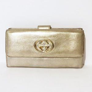 Gucci gold leather metallic long wallet